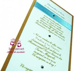 Invitatie de nunta alb bleu