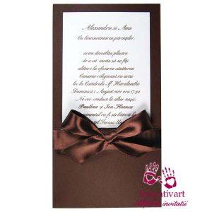 Invitatie de nunta cu funda de saten