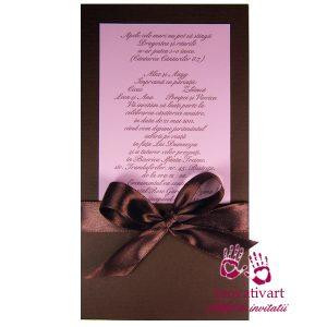 Invitatie de nunta roz cu maro