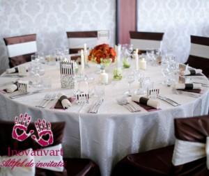 Set de nunta: marturie, meniuri, placecard, numar de masa