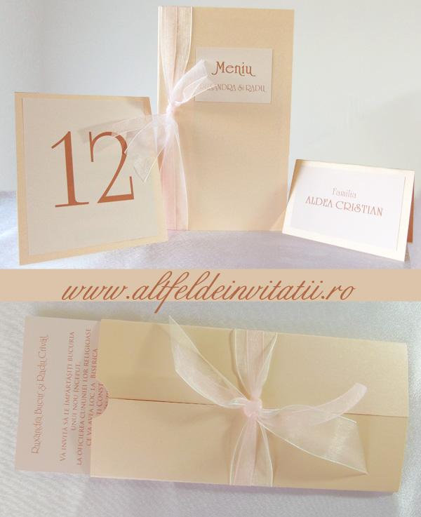 Invitatie de nunta simpla, eleganta, sampanie, setul este completat de numar de masa, meniu, card place