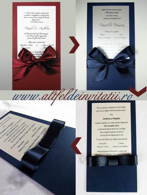 Invitatie Nunta de vis personalizata navy cu silver si funda papion