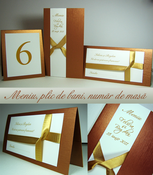 Plic de bani / place card, numar de masa, meniu de nunta auriu cupru alb, model cadou