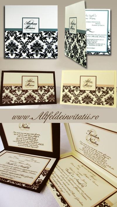 Invitatie nunta crem maro personalizata dreptunghiular
