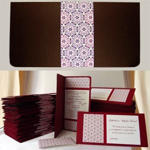 Invitatie de nunta Roma personalizata in culoarea Bordo | visiniu | grena