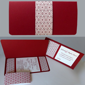 Invitatie de nunta visinie | bordo | grena cu banda decorativa
