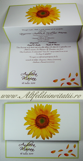 Invitatie de nunta cu floarea soarelui
