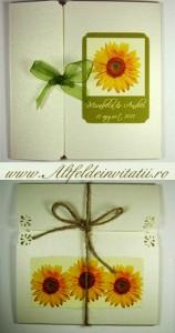 Invitatie rustica cu floarea soarelui