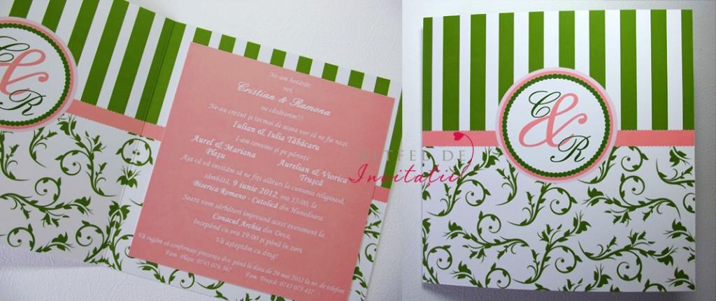 Invitatia de nunta Paris pe combinatia de culori alb, roz, verde