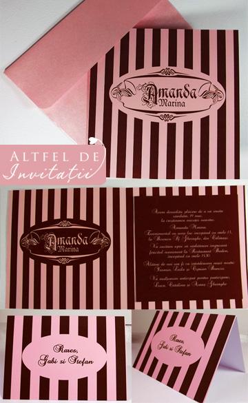 Invitatie de botez si place card coordonat cu dungi maro si roz