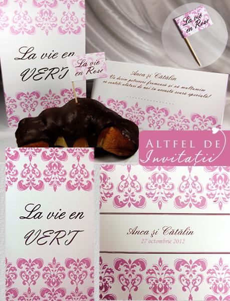 Invitatie personalizata cu meniu, place card si stegulet realizate special pentru miri pe alb si roz