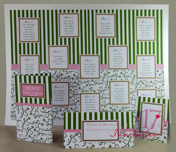 Setul coordonat pentru invitatia de nunta Paris realizat pe culorile alb verde roz