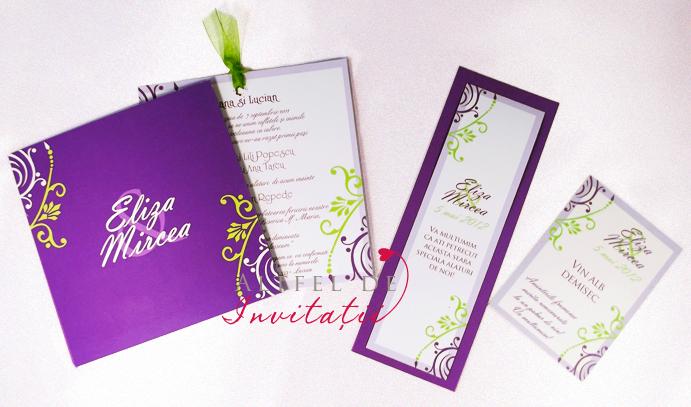 Invitatie de nunta univers lila personalizat violet alb