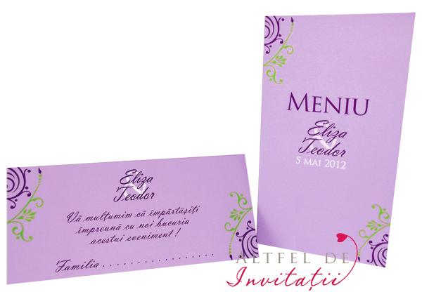 Meniu de nunta mov-alb-violet si plic de bani nunta violet alb mov