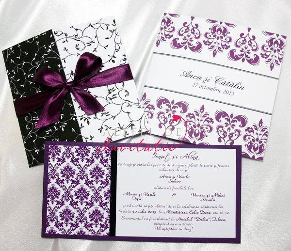 Invitatii de nunta elegante in combinatie cu negru