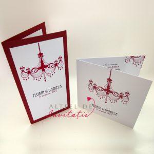 Invitatii de nunta Candelabru in varianta DL si in varianta patrata