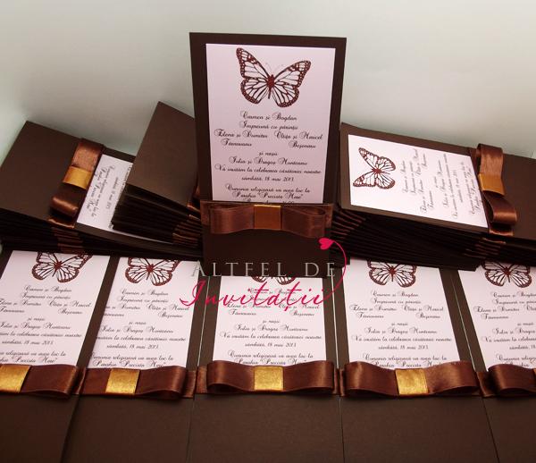 Invitatii nunta de vis cu fluturi