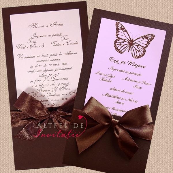 Invitatie nunta de vis cu fluture