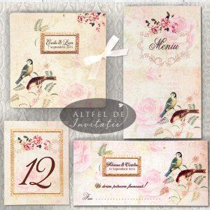 Papetaria de nunta Shabby chic incanta prin nuantele pale si prin imprimeul accesorizat cu pasarele, flori si crengute - altfeldeinvitatii.ro