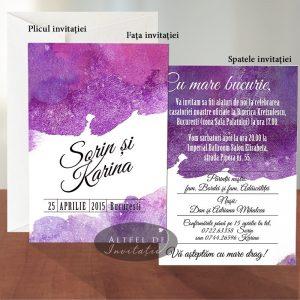 Invitatia de nunta Acuarela are un design modern plin de culoare - altfel de invitatii