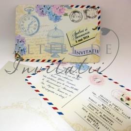 Invitatie de nunta Carte postala in stil vintage cu decor floral deosebit - altfeldeinvitatii.ro