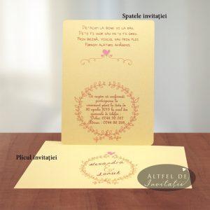 Invitatia de nunta noi suntem cool este accesorizata de inimiore,floricele ce alcatuiesc decorul unei nunti plina de veselie si frumusete - altfeldeinvitatii.ro