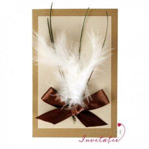 Invitatia de nunta Buchet spumos cuprinde fulgi si o franturi din pene de paun legate cu fundita de saten - altfeldeinvitatii.ro