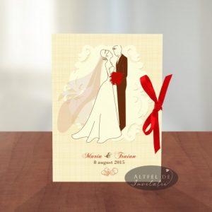 Invitatia de nunta Mire si mireasa incanta prin frumusete si simplitate, avand un accesoriu contrastant, fundita rosie de satin- altfeldeinvitatii.ro