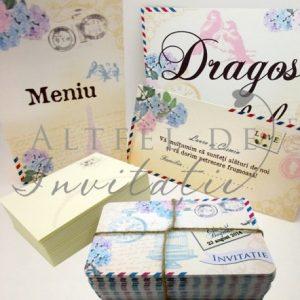 Papetaria de nunta Carte postala se distinge prin amestecul de culori calde, prin frumusetea design-ului  - altfeldeinvitatii.ro