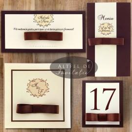 Papetaria de nunta Cafea cu zahar se distinge prin contrastul culorilor, prin delicatetea design-ulu si prin stilul formal - altfeldeinviatii.ro