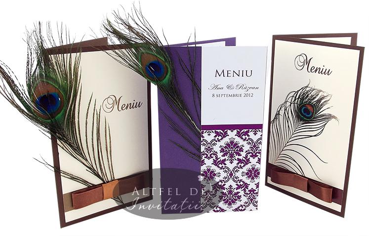 Meniuri de nunta decorate cu pene de paun exotice si contrastante - altfeldeinvitatii.ro