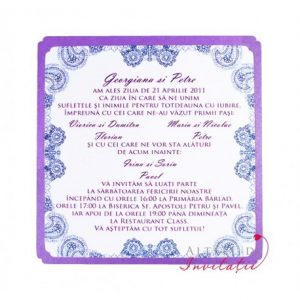 Invitatie de nunta Eleganta simpla cu imprimeu dantelat, ce inconjioara textul propriu-zis si tente retro. - altfeldeinvitatii.ro