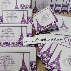 Invitatia de nunta Londra cu turnul Eiffel este artistica si expresiva, specifica temei calatoria - altfeldeinvitatii.ro