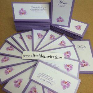 Papetaria de nunta Orhidee mov este deosebit de eleganta si atragatoare - altfeldeinvitatii.ro