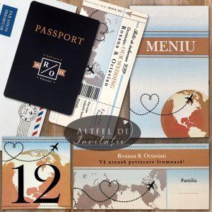 Setul de nunta Bilet de avion cu pasaport este deosebit si incanta prin frumusete, eleganta, stil si inovatie. Cuprinde invitatie, meniu, numar de masa si place card - altfeldeinvitatii.ro