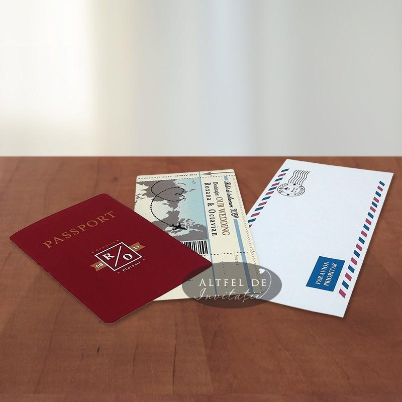 Invitatia de nunta Bilet de avion cu pasaport este ideala pentru o nunta cu tema calatorii, avand elemente aditionale: avion, stampila, bilet - altfeldeinvitatii.ro