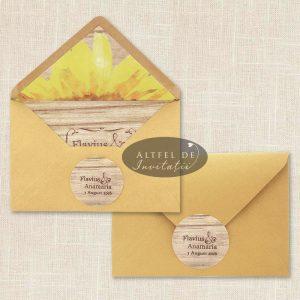 Invitatie de nunta cu Floarea soarelui si plicul asociat