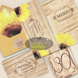 Invitatii Rustice Pentru Nunta Cu Tema Floarea Soarelui Blog