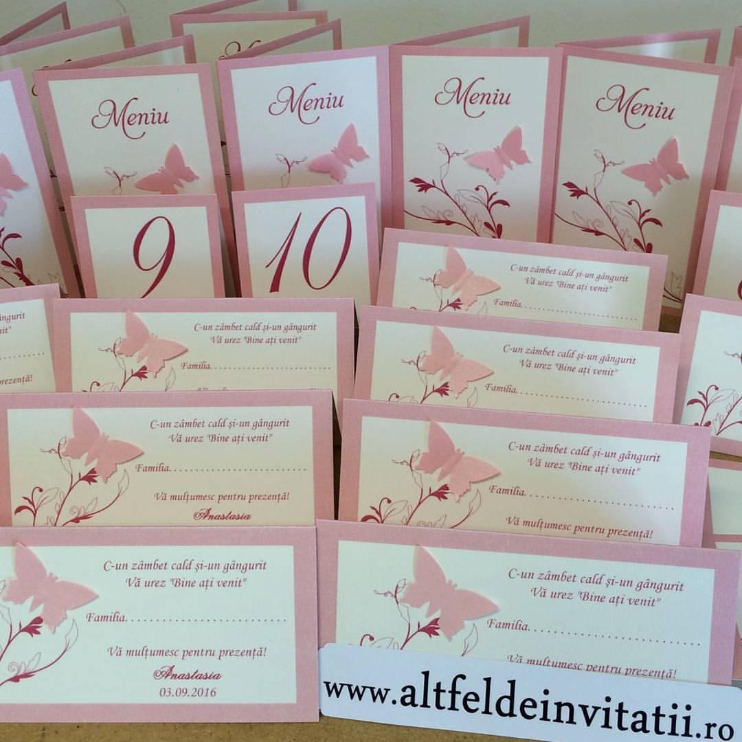 Meniuri, place carduri Zbor de fluturi handmade cu fluturi roz