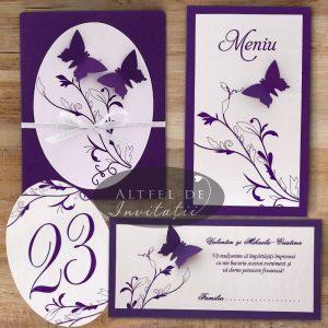 Set complet papetarie nunta accesorizat cu fluturi handmade