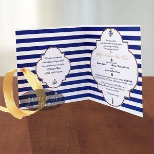 Invitatie de nunta Marina culoarea navy vedere interior