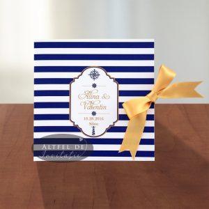 Invitatie de nunta Marina culaorea navy