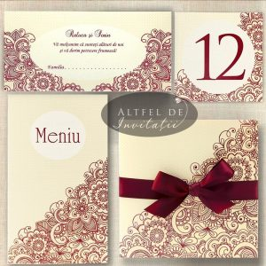 Set complet papetarie nunta Viata in roz: invitatie, meniu, numar de masa, place card