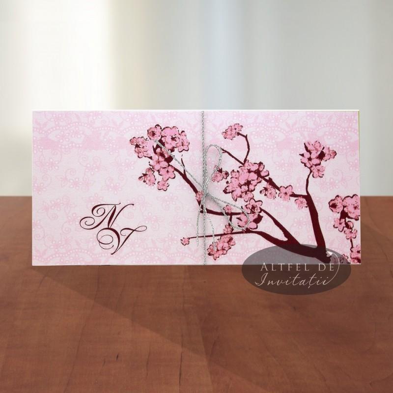 Invitatie nunta primavara roz cu flori de cires