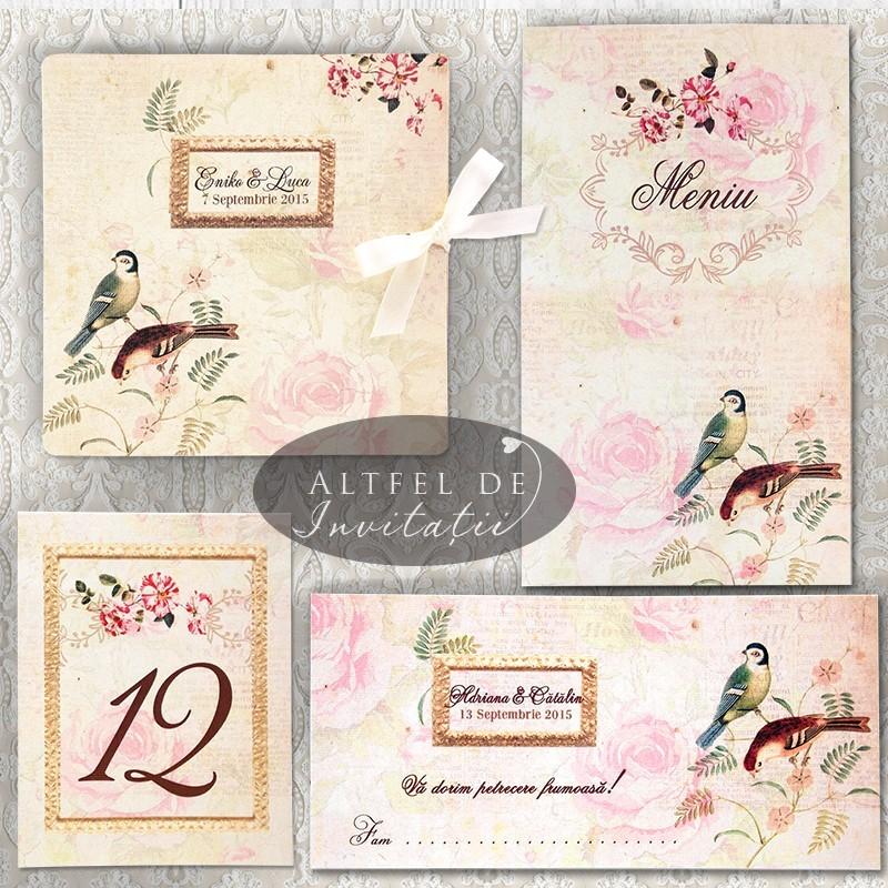 Invitatii personalizate cu pasari si flori