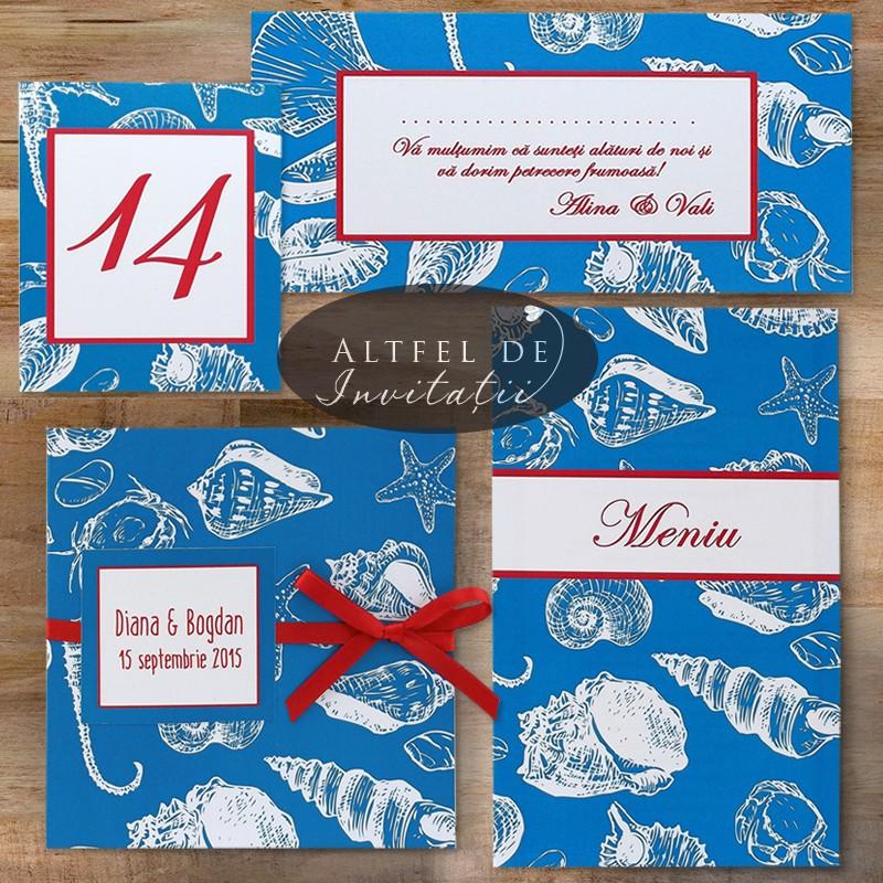Set de papetarie pentru nunta, colorat, pentru petreceri cu tematica marina