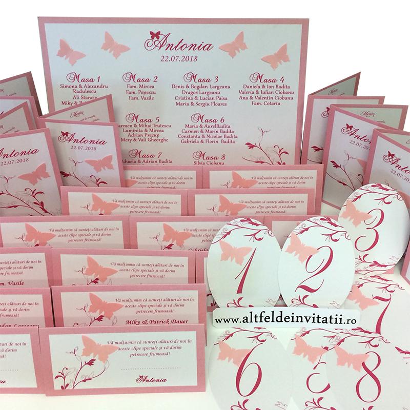 Set complet de papetarie Zbor de fluturi roz, cuprinzand opis, numerele de masa, place carduri cu numele invitatilor si meniuri