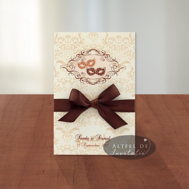 Invitatii de nunta personalizate in stil baroc