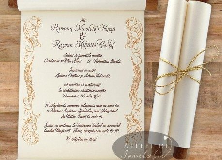Invitatii de nunta personalizate cu scortisoara