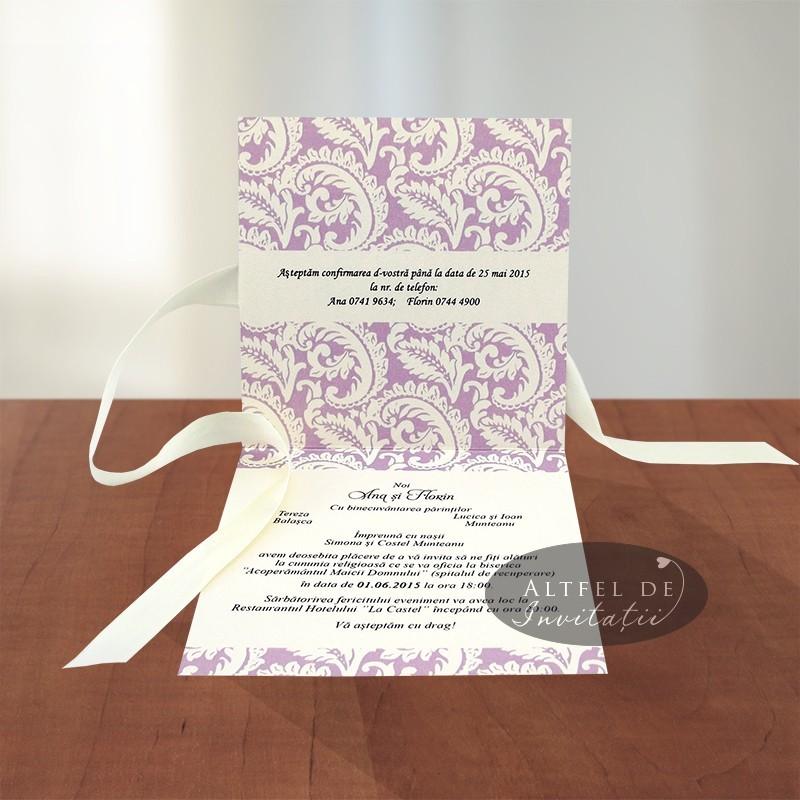 Invitatii de nunta personalizate, realizate din coperta speciala pliata in doua parti